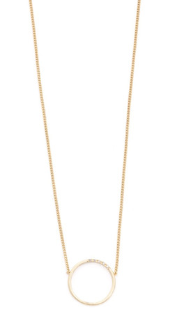 Madewell Pave Circle Necklace - Bright Ivory