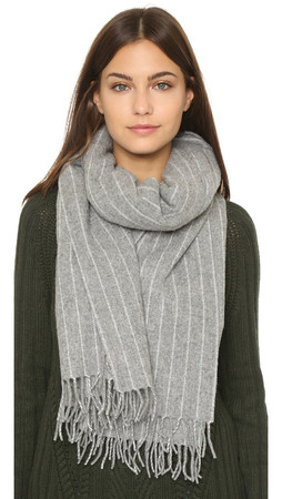 Madewell Pinstripe Poncho Scarf - Heather Cloud