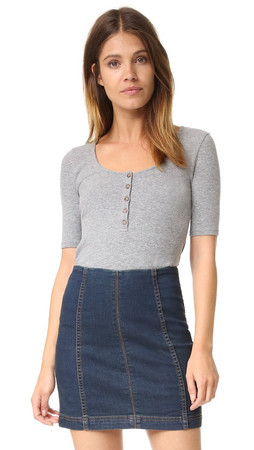 Madewell Rory Scoop Tee - Heather Grey