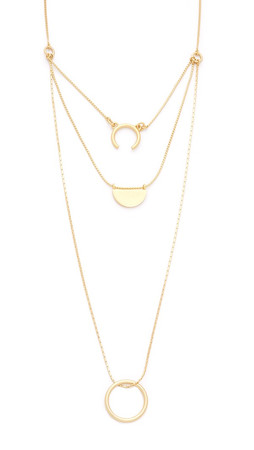 Madewell Triple Layer Open Shape Necklace - Vintage Gold