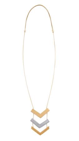Madewell Triple Stack Arrow Pendant Necklace - Worn Rhodium