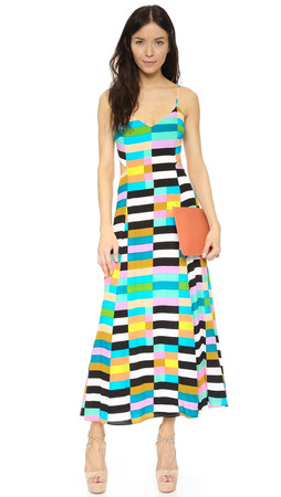 Mara Hoffman Flag Stripe Tie Back Dress - Black Multi