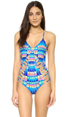 Mara Hoffman Flight Azure Lattice Swimsuit - Blue Multi