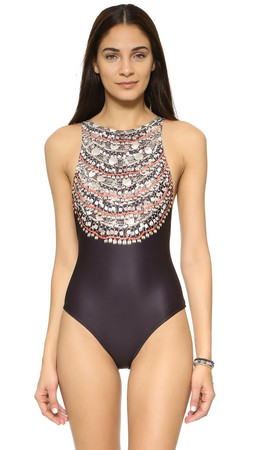 Mara Hoffman High Neck Low Back Swimsuit - Necklaces