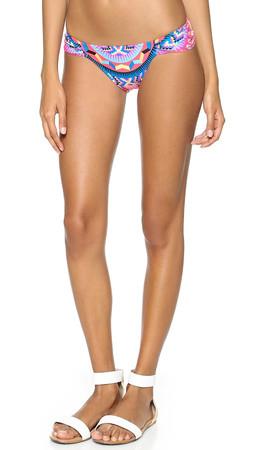 Mara Hoffman Jungle Trip Ruched Side Bikini Bottoms - Jungle Trip Red