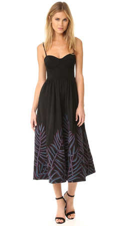 Mara Hoffman Leaf Embroidery Bustier Dress - Black Multi