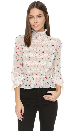 Marc By Marc Jacobs Cherry Pindot Long Sleeve Top - Off White Multi