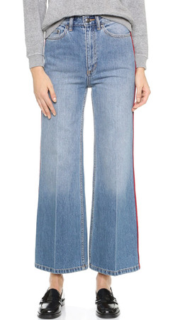 Marc By Marc Jacobs Crop Wide Leg Jeans - Authentic Blue With Piping