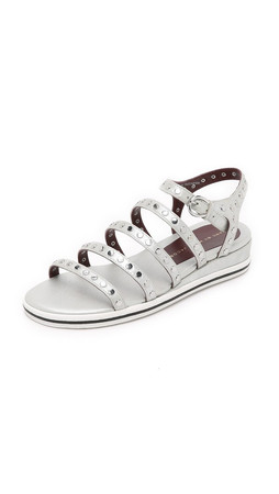 Marc By Marc Jacobs Gena Studded Sandals - Silver