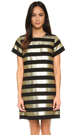 Marc By Marc Jacobs Striped Mini Dress - Gold Multi