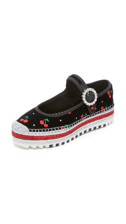 Marc By Marc Jacobs Suzi Cherry Mary Jane Espadrilles - Black