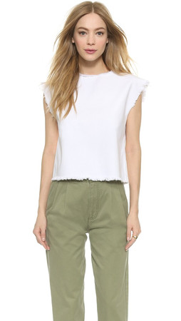 Marc By Marc Jacobs White Denim Cropped Short Sleeve Tee - White Light