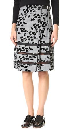 Marc Jacobs Animal Flocked Pleated Skirt - Plaid Multi