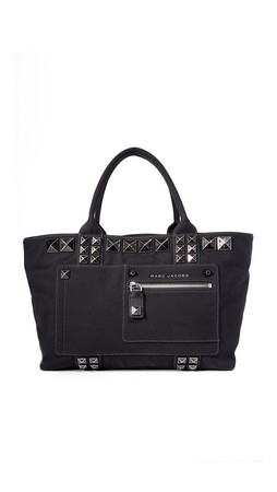 Marc Jacobs Chipped Stud Canvas Tote - Black