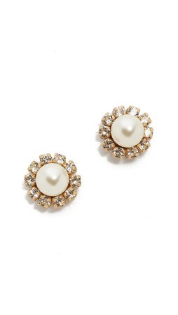 Marc Jacobs Crystal Flower Stud Earrings - Cream/Antique Gold
