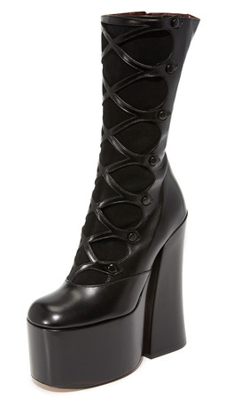Marc Jacobs Dede Platform Button Boots - Black
