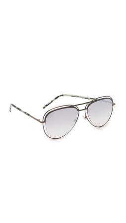 Marc Jacobs Double Wire Double Rimmed Aviator Sunglasses - Dark Ruthenium/Grey