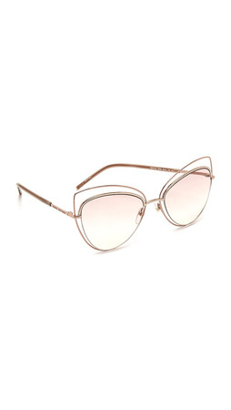 Marc Jacobs Double Rimmed Cat Eye Sunglasses - Gold Copper/Pink Beige