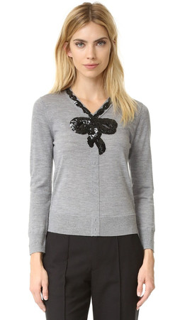 Marc Jacobs Embroidered Classic Sweater - Grey Melange
