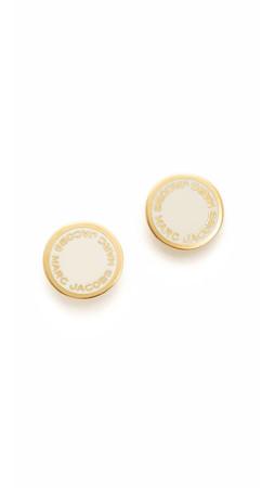Marc Jacobs Enamel Logo Disc Stud Earrings - Cream