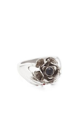 Marc Jacobs Hand Flower Ring - Jet/Antique Silver