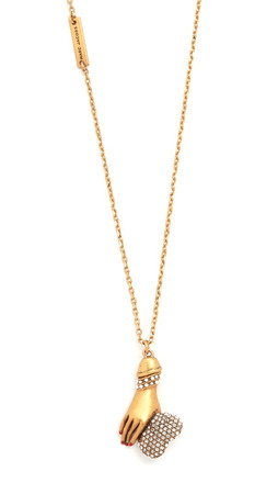 Marc Jacobs Hand Heart Necklace - Crystal/Antique Gold