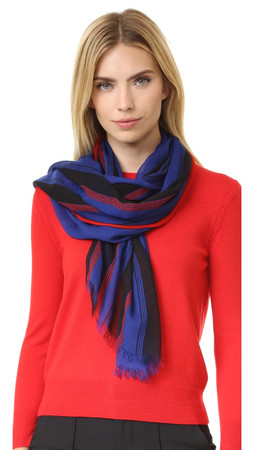 Marc Jacobs Multi Stripe Oblong Scarf - Blue Multi