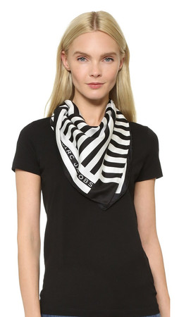 Marc Jacobs Satin Stripe Bandana - Black Multi