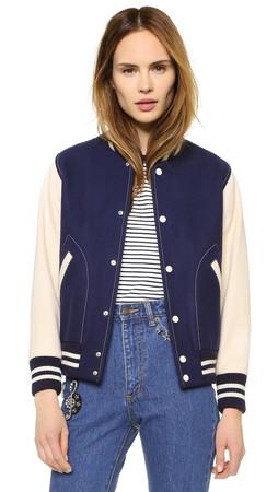 Marc Jacobs Shrunken Varsity Jacket - Navy