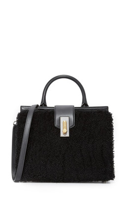 Marc Jacobs West End Shearling Small Top Handle Bag - Black