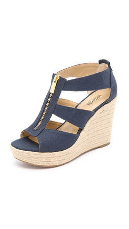 Michael Michael Kors Damita Wedge Sandals - Navy