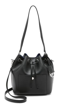 Michael Michael Kors Greenwich Medium Bucket Bag - Black/Electric Blue