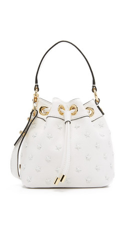 Milly Astor Small Star Bucket Bag - White