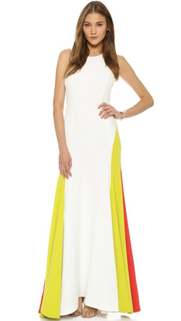 Milly Italian Cady Colorblock Gown - White