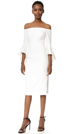 Milly Italian Cady Selena Slit Dress - White