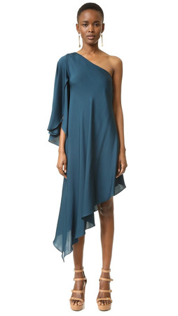 Milly One Shoulder Tori Dress - Peacock