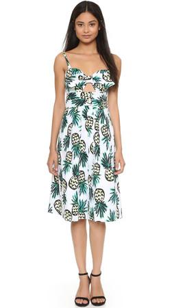 Milly Pineapple Print Jordan Tie Dress - Multi