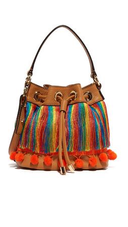 Milly Pom Pom Bucket Bag - Caramel