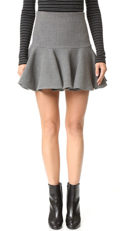 Milly Wool Flounce Skirt - Charcoal