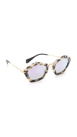 Miu Miu Geometric Sunglasses - Dark Havana/Grey Blue Mirror