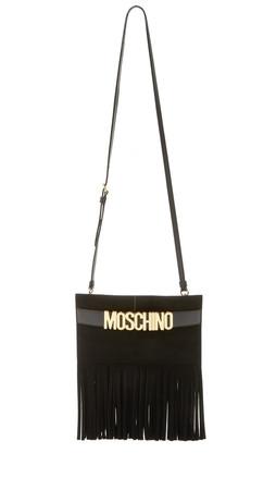 Moschino Fringed Cross Body Bag - Black