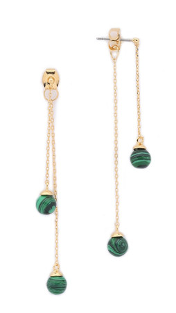 Noir Jewelry Sphere Drop Earrings - Gold/Malachite