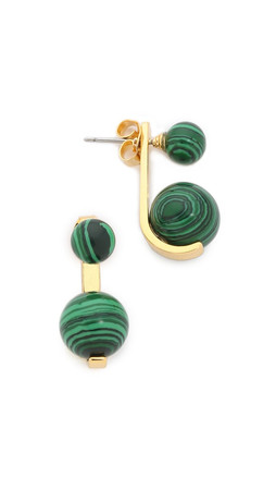 Noir Jewelry Sphere Front To Back Earrings - Gold/Malachite