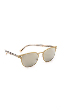 Oliver Peoples Eyewear Sheldrake Metal Sunglasses - Brushed Gold/Taupe