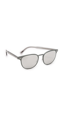 Oliver Peoples Eyewear Sheldrake Metal Sunglasses - Brushed Gunmetal/Silver Mirror
