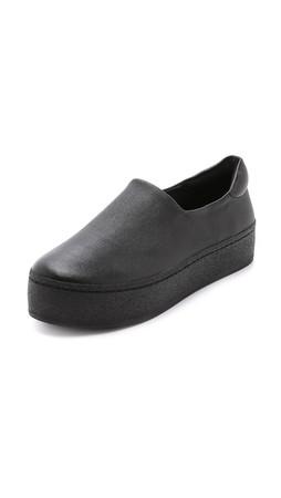Opening Ceremony Cici Slip On Leather Platform Sneakers - Black