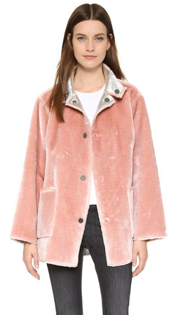 Opening Ceremony Faux Fur Reversible Coat - Dusty Pink