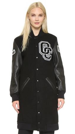 Opening Ceremony Oc Varsity Long Jacket - Black Multi