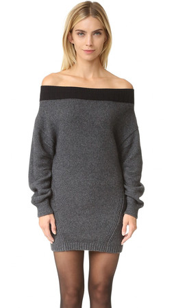 Opening Ceremony Off Shoulder Sweater Dress - Gunmetal Grey