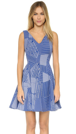 Opening Ceremony Parking Lot Penn Flare Dress - Cobalt Multi
